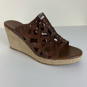 Brighton Daria Leather Cut-out Wedge Sandals 8.5